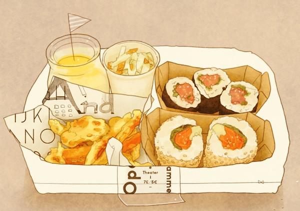 美食畅享漫画图片手绘